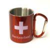 Tasse alu mousqueton croix suisse