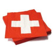 serviette papier avec croix suisse