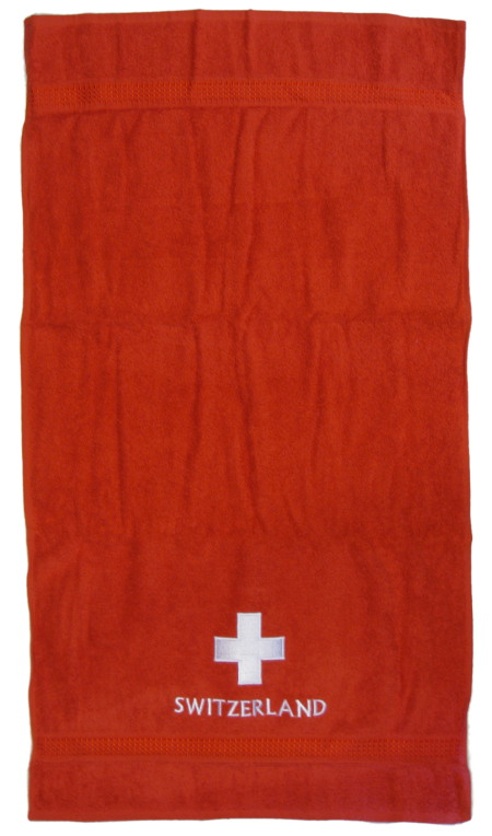 Linge serviette de bain croix suisse - Descamps linge de bain ...