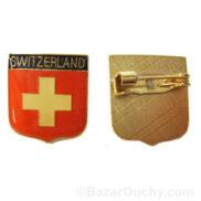Broche croix suisse drapeau