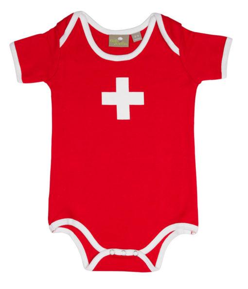 Vetement body bébé croix suisse