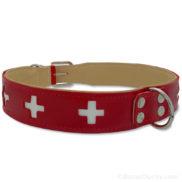 Collier chien croix suisse cuir rouge