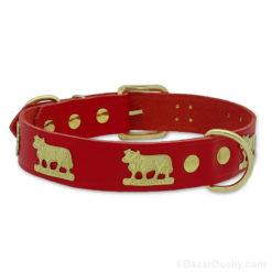 Collier chien cuir vache en métal