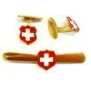 Bouton manchette & pince cravate croix suisse