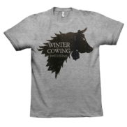 t shirt winter is cowing