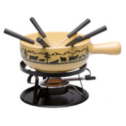 Caquelon fondue decoupage suisse