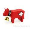 Vache en bois croix suisse
