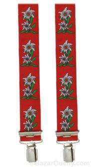 Bretelles edelweiss rouge