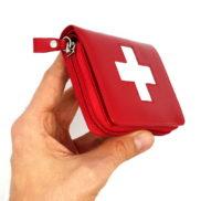 Porte monnaie cuir rouge croix suisse