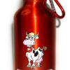 Gourde suisse en métal vache