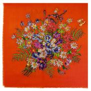 Foulard en laine avec fleurs des montagnes