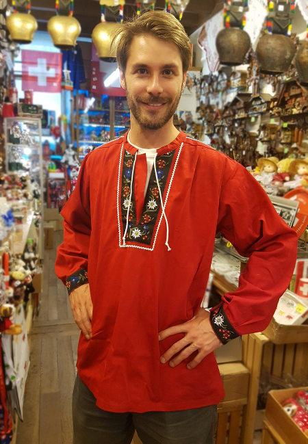 Chemise traditionnelle suisse fleur col