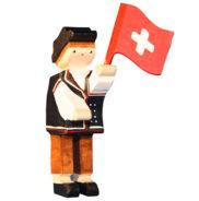 Figurine en bois suisse Lanceur de drapeau