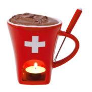 Caquelon fondue au chocolat suisse
