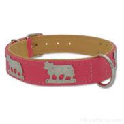 Collier chien cuir rose vache en métal