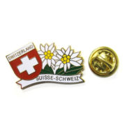 Pin's Edelweiss croix suisse