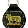 Porte clé cuir avec vache métal appenzel