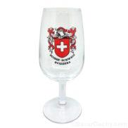Verre a vin pied drapeau suisse croix