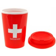 Tasse suisse avec couvercle et croix suisse