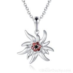 Collier edelweiss en argent avec diamant