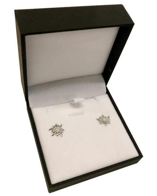 Boucle d'oreille edelweiss argent