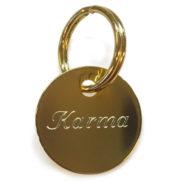 Médaillon plaquette collier chien personnalisé doré