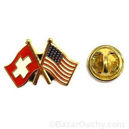 pins suisse usa drapeau