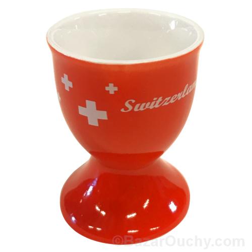 Coquetier croix suisse rouge