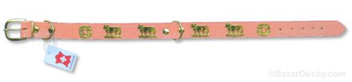 Collier de chien avec vache appenzel rose
