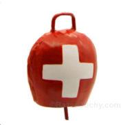Cloche rouge croix suisse en métal
