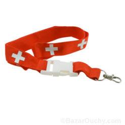 Lanyard croix suisse Tour de cou