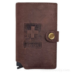 Porte cartes cuir croix suisse