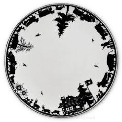 Assiette decoupage poya suisse noir et blanche